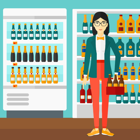 intoxicant: An asian woman standing in the supermarket and holding a pack of beer vector flat design illustration. Square layout.