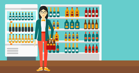 intoxicant: An asian woman standing in the supermarket and holding a pack of beer vector flat design illustration. Horizontal layout.
