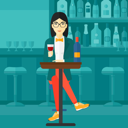 woman drinking wine: An asian woman sitting at the bar and drinking wine vector flat design illustration. Horizontal layout.