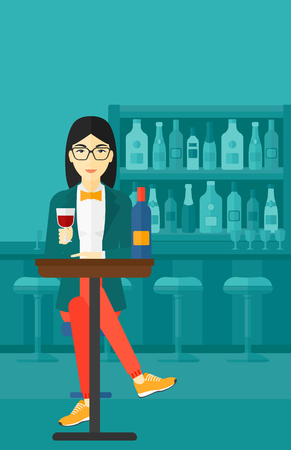 woman drinking wine: An asian woman sitting at the bar and drinking wine vector flat design illustration. Vertical layout.