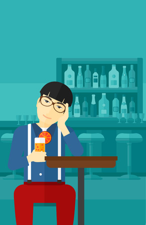 vertical bar: An asian sad man sitting at the bar with a glass of juice vector flat design illustration. Vertical layout. Illustration