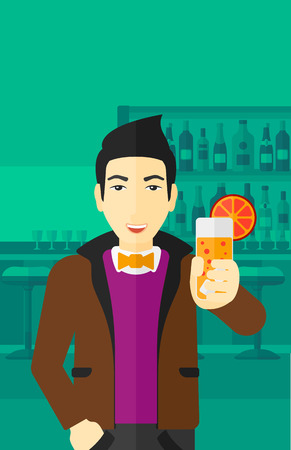 clang: An asian cheerful man standing at the bar and holding a glass of juice vector flat design illustration. Vertical layout. Illustration