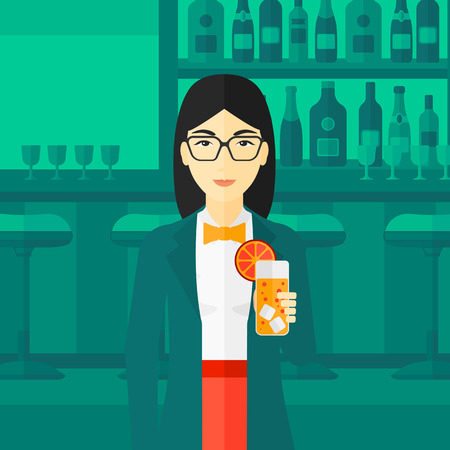 clang: An asian cheerful woman standing at the bar and holding a glass of juice vector flat design illustration. Square layout.