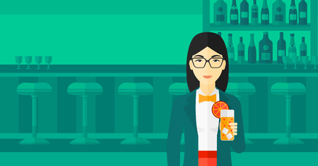 clang: An asian cheerful woman standing at the bar and holding a glass of juice vector flat design illustration. Horizontal layout.