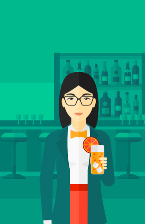 clang: An asian cheerful woman standing at the bar and holding a glass of juice vector flat design illustration. Vertical layout.