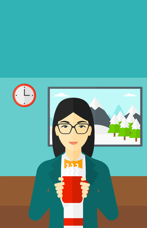tasteful: An asian smiling woman drinking hot flavored coffee in living room vector flat design illustration. Vertical layout. Illustration
