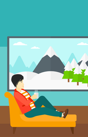 An asian man lying on sofa in living room and holding a cup of hot flavored tea vector flat design illustration. Vertical layout. Иллюстрация