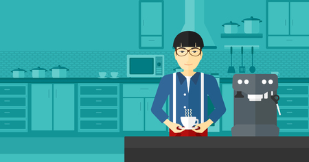 An asian man preparing coffee with coffee-machine on a kitchen background vector flat design illustration . Horizontal layout.