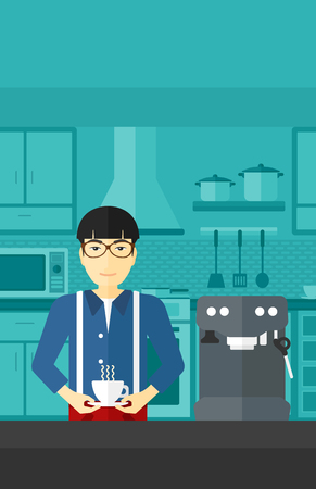 An asian man preparing coffee with coffee-machine on a kitchen background vector flat design illustration . Vertical layout.