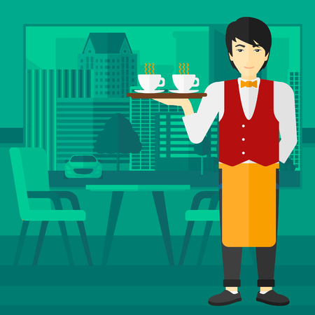 lenght: An asian man holding a tray with cups of tea or coffee at the bar vector flat design illustration. Square layout.