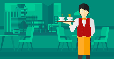 lenght: An asian man holding a tray with cups of tea or coffee at the bar vector flat design illustration. Horizontal layout.