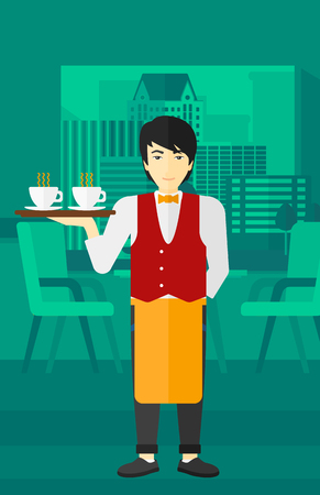 An asian man holding a tray with cups of tea or coffee at the bar vector flat design illustration.  Vertical layout. Ilustrace