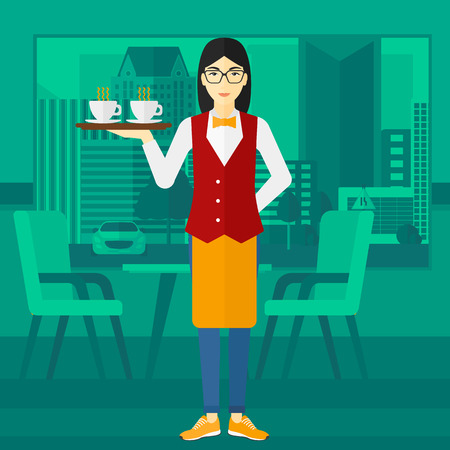 lenght: An asian charming waiteress holding a tray with cups of tea or coffee at the bar vector flat design illustration. Square layout.