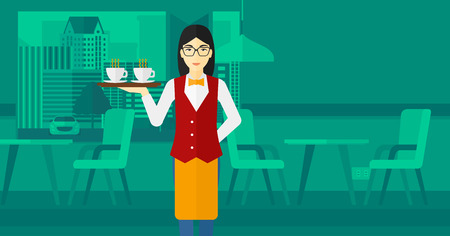 lenght: An asian charming waiteress holding a tray with cups of tea or coffee at the bar vector flat design illustration. Horizontal layout. Illustration