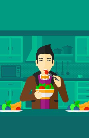 asian man smiling: An asian smiling man standing in the kitchen and eating salad vector flat design illustration. Vertical layout. Illustration