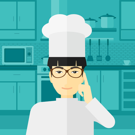 An asian cheerful chief-cooker in uniform standing in the kitchen and pointing forefinger up vector flat design illustration. Square layout.