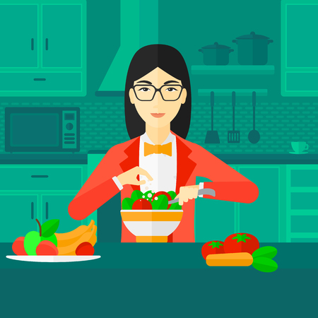 An asian woman standing in the kitchen and cooking vegetable salad vector flat design illustration. Square layout.