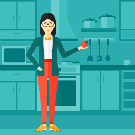 An asian woman standing in the kitchen and holding an apple in hand vector flat design illustration. Square layout.