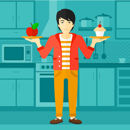 An asian man standing in the kitchen with apple and cake in hands symbolizing choice between healthy and unhealthy food vector flat design illustration. Square layout.