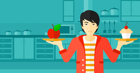 choosing: An asian man standing in the kitchen with apple and cake in hands symbolizing choice between healthy and unhealthy food vector flat design illustration. Horizontal layout.