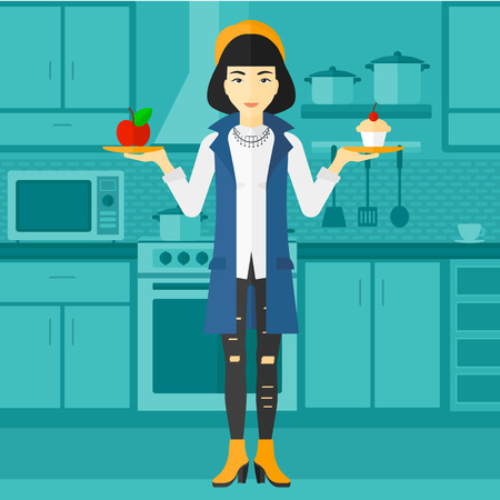 An asian woman standing in the kitchen with apple and cake in hands symbolizing choice between healthy and unhealthy food vector flat design illustration. Square layout.