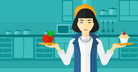 An asian woman standing in the kitchen with apple and cake in hands symbolizing choice between healthy and unhealthy food vector flat design illustration. Horizontal layout.