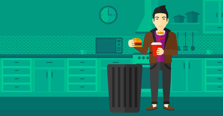 An asian man standing in the kitchen and putting junk food into a trash bin vector flat design illustration. Horizontal layout. Ilustração