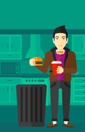 cut away: An asian man standing in the kitchen and putting junk food into a trash bin vector flat design illustration. Vertical layout.