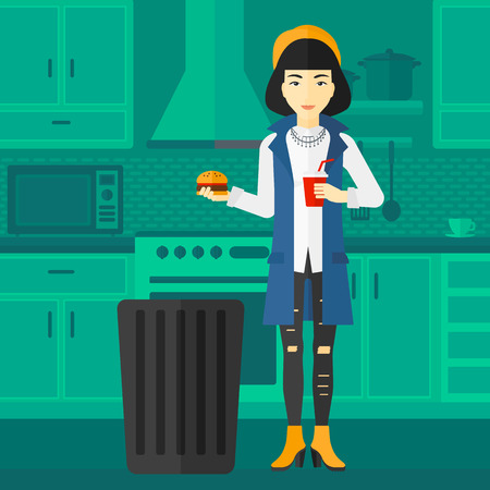 foodstuffs: An asian woman standing in the kitchen and putting junk food into a trash bin vector flat design illustration. Square layout.