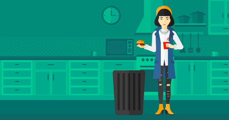 An asian woman standing in the kitchen and putting junk food into a trash bin vector flat design illustration. Horizontal layout.