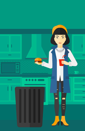 An asian woman standing in the kitchen and putting junk food into a trash bin vector flat design illustration. Vertical layout.