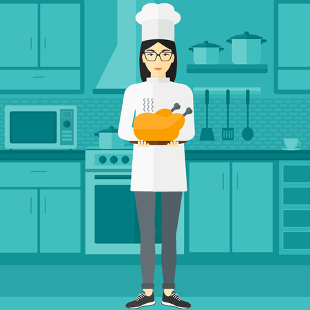 vapour: An asian chef stnding in the kitchen and holding a plate with a hot chicken vector flat design illustration. Square layout. Illustration