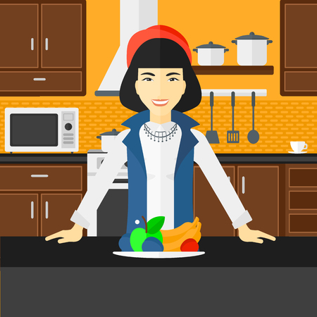 An asian woman standing in the kitchen in front of table full of organic healthy food vector flat design illustration. Square layout.