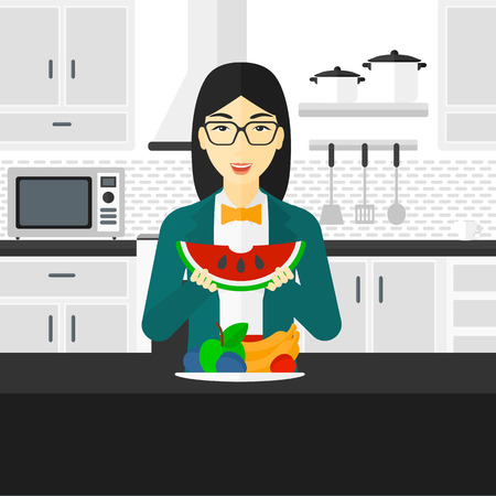 watermelon woman: An asian excited woman eating watermelon while standing in the kitchen in front of table full of organic healthy food vector flat design illustration. Square layout. Illustration