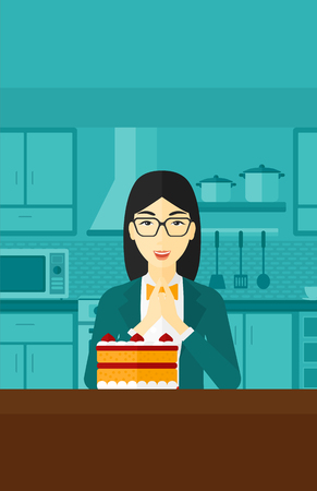 An asian woman standing in the kitchen and looking with passion at a big cake vector flat design illustration. Vertical layout.