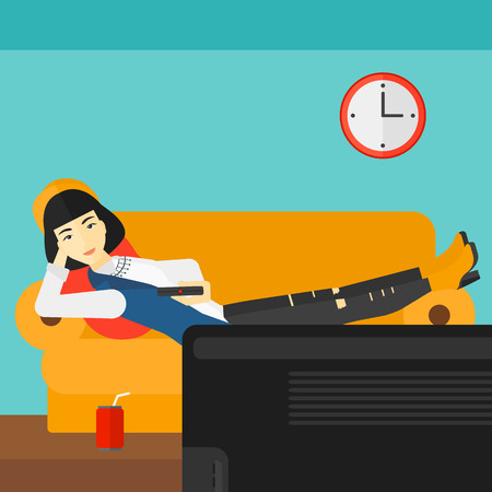 woman watching tv: An asian woman lying on a sofa and watching tv with a remote control in her hand and soda on the floor vector flat design illustration. Square layout. Illustration