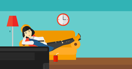 woman watching tv: An asian woman lying on a sofa and watching tv with a remote control in her hand and soda on the floor vector flat design illustration. Horizontal layout.