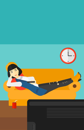 woman watching tv: An asian woman lying on a sofa and watching tv with a remote control in her hand and soda on the floor vector flat design illustration. Vertical layout.
