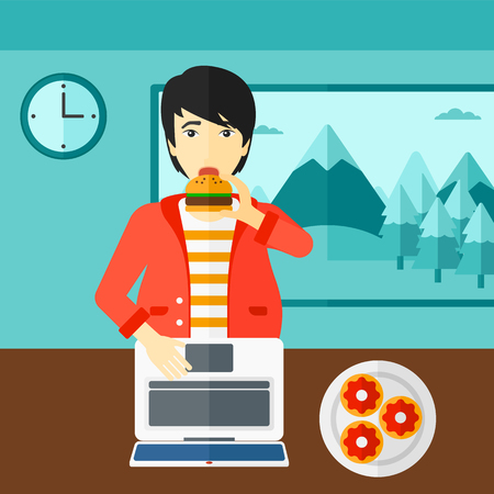 asian man laptop: An asian man standing in room in front of a laptop while eating junk food vector flat design illustration. Square layout.