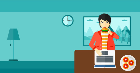 asian man laptop: An asian man standing in room in front of a laptop while eating junk food vector flat design illustration. Horizontal layout.