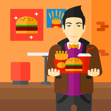 french ethnicity: An asian man holding a tray full of junk food on a cafe background vector flat design illustration. Square layout.