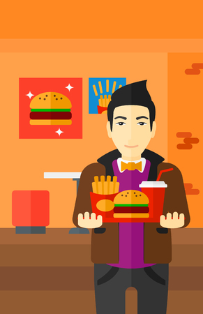 french ethnicity: An asian man holding a tray full of junk food on a cafe background vector flat design illustration. Vertical layout.