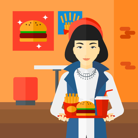 french ethnicity: An asian woman holding a tray full of junk food on a cafe background vector flat design illustration. Square layout.