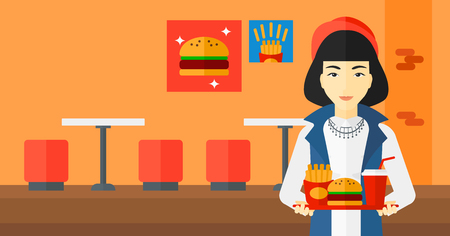 french ethnicity: An asian woman holding a tray full of junk food on a cafe background vector flat design illustration. Horizontal layout.