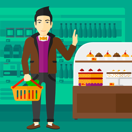 refusing: An asian man holding a basket full of healthy food and refusing junk food on a supermarket background vector flat design illustration. Square layout. Illustration
