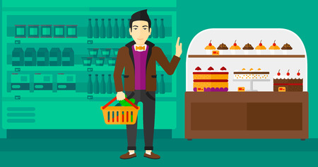refusing: An asian man holding a basket full of healthy food and refusing junk food on a supermarket background vector flat design illustration. Horizontal layout. Illustration