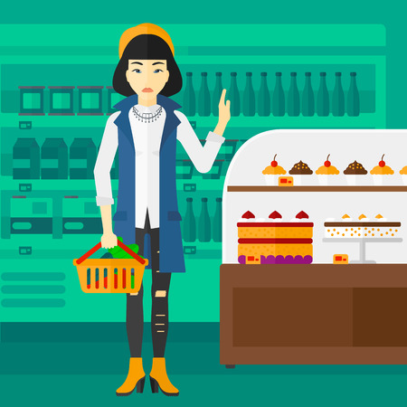 refusing: An asian woman holding a basket full of healthy food and refusing junk food on a supermarket background vector flat design illustration. Square layout.