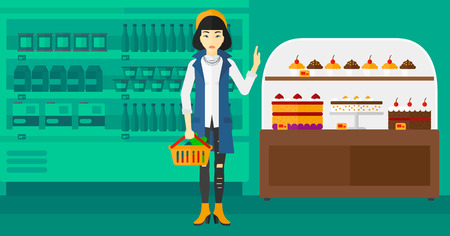 refusing: An asian woman holding a basket full of healthy food and refusing junk food on a supermarket background vector flat design illustration. Horizontal layout.