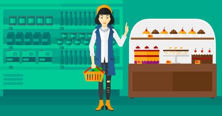 mujer en el supermercado: Una mujer asiática que sostiene una cesta llena de comida sana y se niega la comida chatarra en una ilustración de diseño plano supermercado vector de fondo. disposición horizontal. Vectores