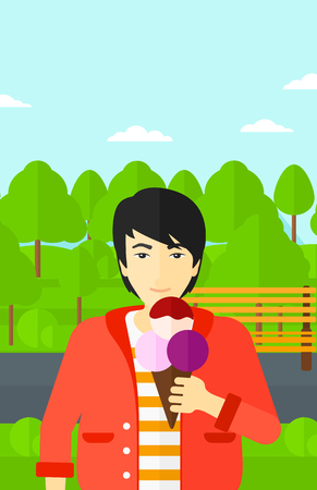 cornet: An asian man holding a big icecream in hand on a park background vector flat design illustration. Vertical layout. Illustration